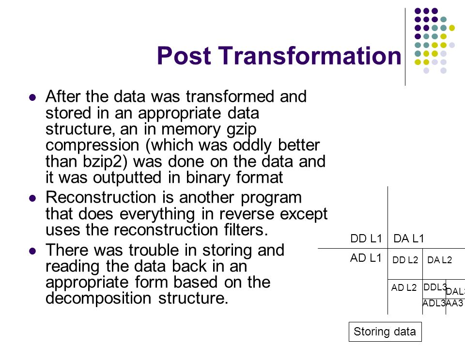 Post Transformation After the data was transformed and stored in an appropriate data structure, an in memory gzip compression (which was oddly better than bzip2) was done on the data and it was outputted in binary format Reconstruction is another program that does everything in reverse except uses the reconstruction filters.