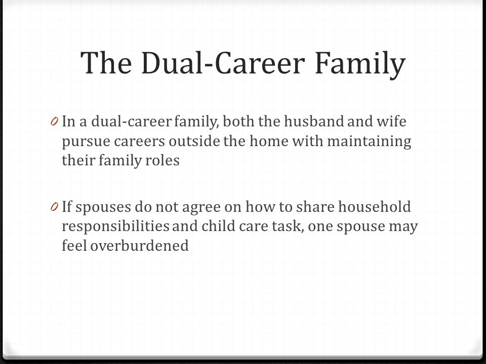 The Dual-Career Family 0 In a dual-career family, both the husband and wife pursue careers outside the home with maintaining their family roles 0 If spouses do not agree on how to share household responsibilities and child care task, one spouse may feel overburdened