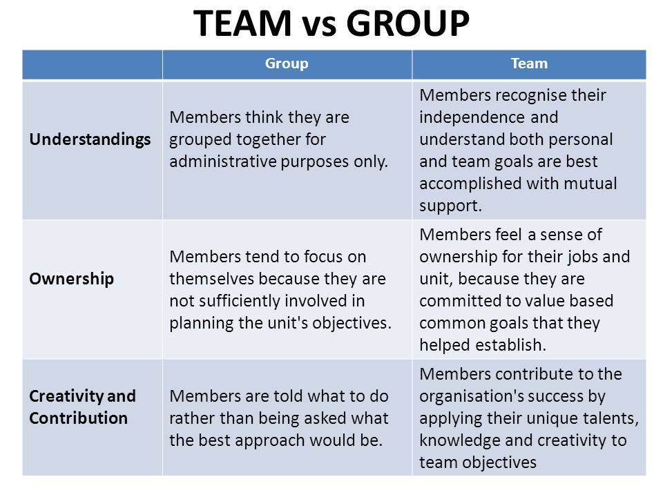 TEAM vs GROUP GroupTeam Understandings Members think they are grouped together for administrative purposes only. Members recognise their independence