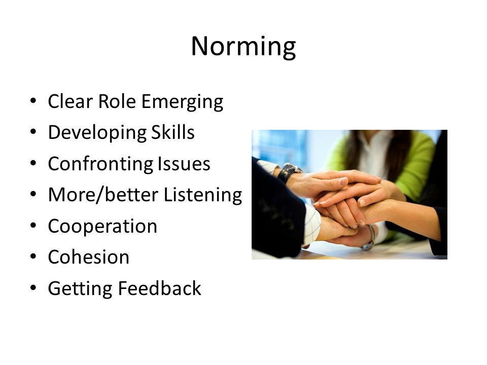 Norming Clear Role Emerging Developing Skills Confronting Issues More/better Listening Cooperation Cohesion Getting Feedback