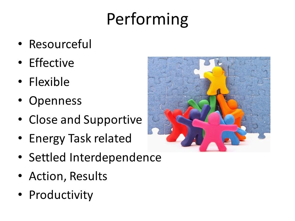 Performing Resourceful Effective Flexible Openness Close and Supportive Energy Task related Settled Interdependence Action, Results Productivity