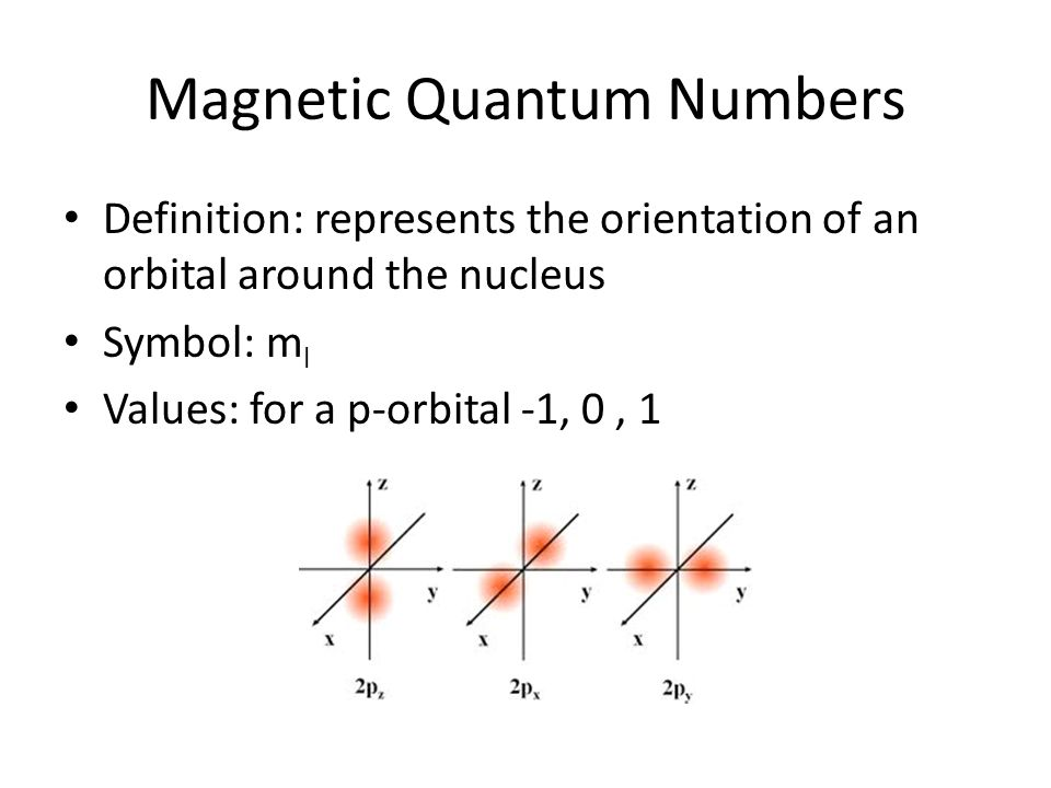 Magnetic Quantum Numbers Definition: represents the orientation of an orbital around the nucleus Symbol: m l Values: for a p-orbital -1, 0, 1