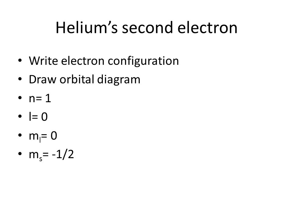Helium's second electron Write electron configuration Draw orbital diagram n= 1 l= 0 m l = 0 m s = -1/2