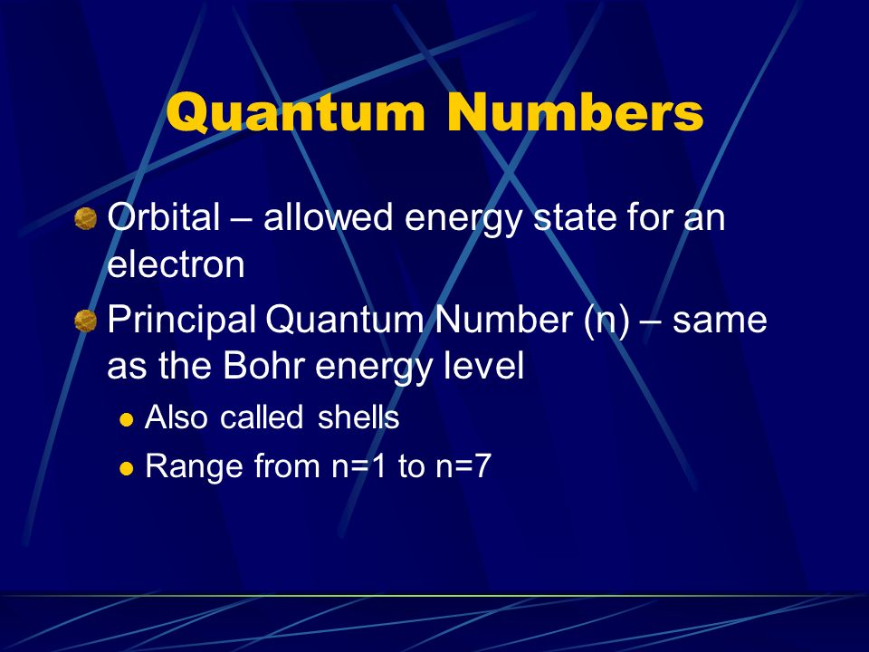 Quantum Numbers Orbital – allowed energy state for an electron Principal Quantum Number (n) – same as the Bohr energy level Also called shells Range from n=1 to n=7