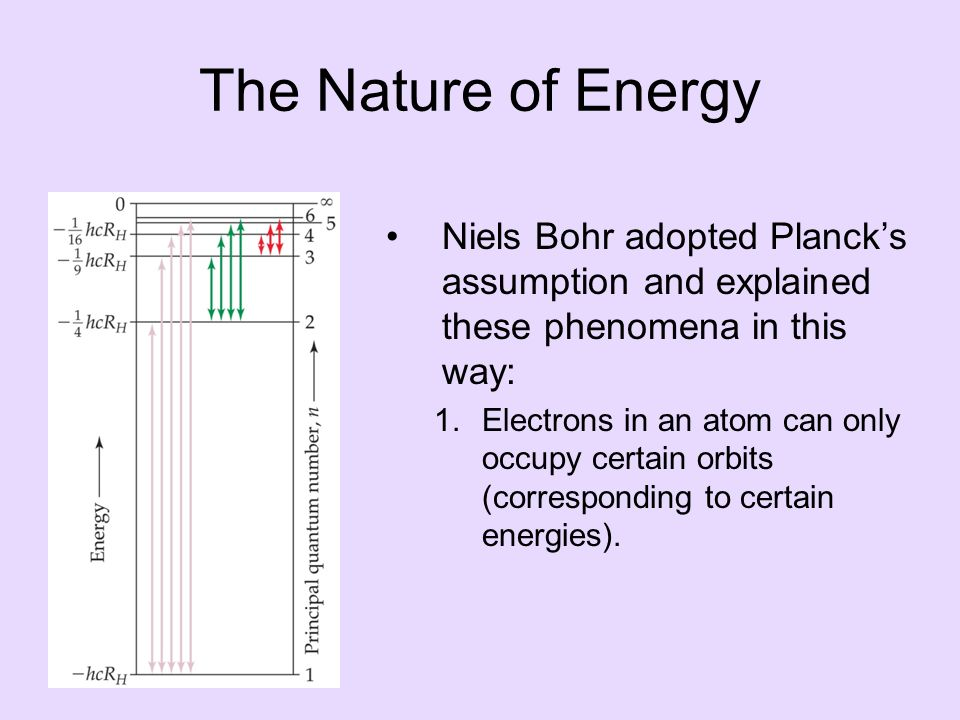 The Nature of Energy Niels Bohr adopted Planck's assumption and explained these phenomena in this way: 1.Electrons in an atom can only occupy certain orbits (corresponding to certain energies).