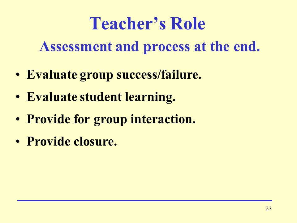 23 Teacher's Role Assessment and process at the end.