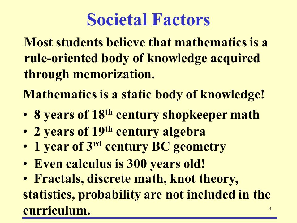 4 Most students believe that mathematics is a rule-oriented body of knowledge acquired through memorization.