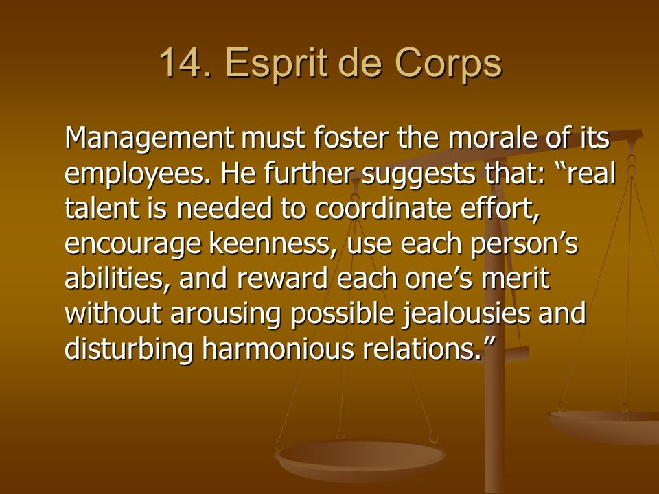 "14. Esprit de Corps Management must foster the morale of its employees. He further suggests that: ""real talent is needed to coordinate effort, encoura"