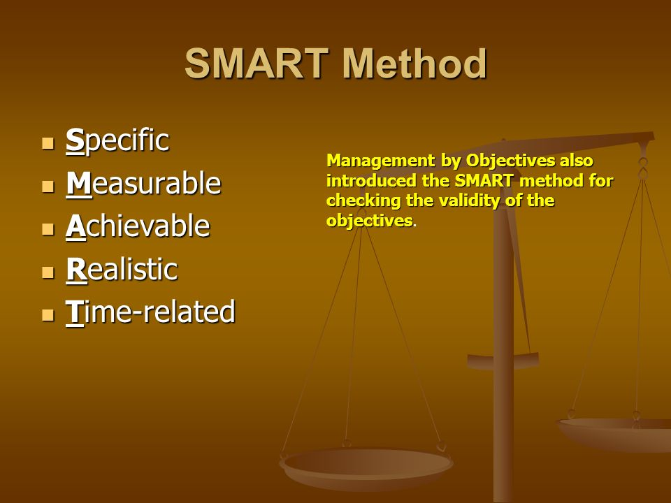 SMART Method Specific Specific Measurable Measurable Achievable Achievable Realistic Realistic Time-related Time-related Management by Objectives also