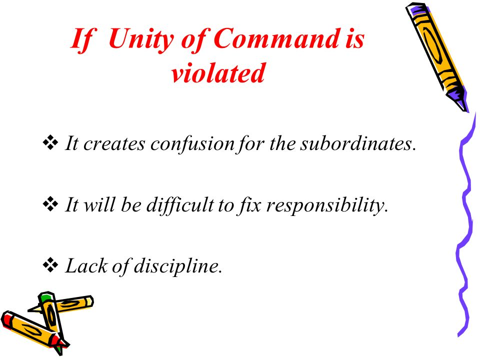 If Unity of Command is violated  It creates confusion for the subordinates.  It will be difficult to fix responsibility.  Lack of discipline.