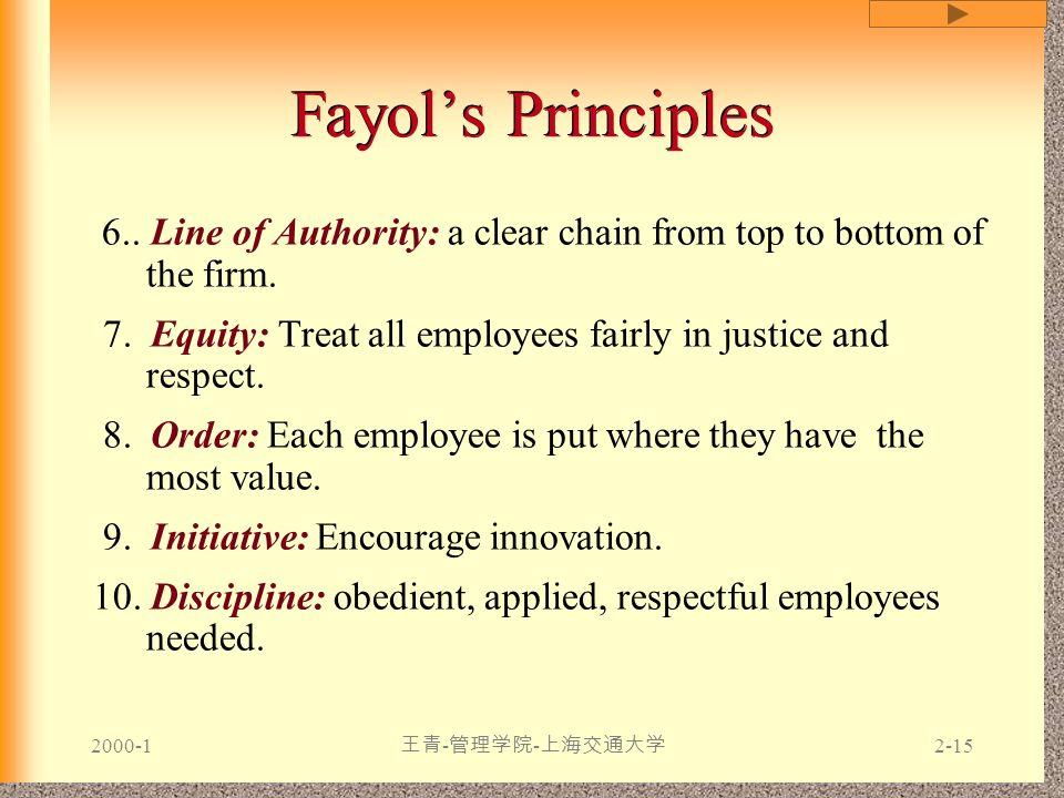 2000-1 王青 - 管理学院 - 上海交通大学 2-15 Fayol's Principles 6.. Line of Authority: a clear chain from top to bottom of the firm. 7. Equity: Treat all employees