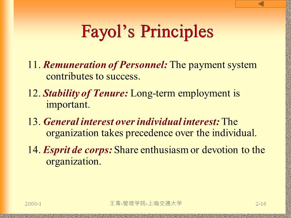 2000-1 王青 - 管理学院 - 上海交通大学 2-16 Fayol's Principles 11. Remuneration of Personnel: The payment system contributes to success. 12. Stability of Tenure: L