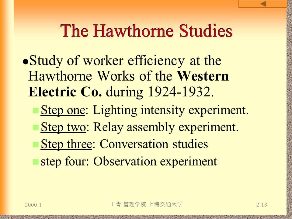 2000-1 王青 - 管理学院 - 上海交通大学 2-18 The Hawthorne Studies Study of worker efficiency at the Hawthorne Works of the Western Electric Co. during 1924-1932. S