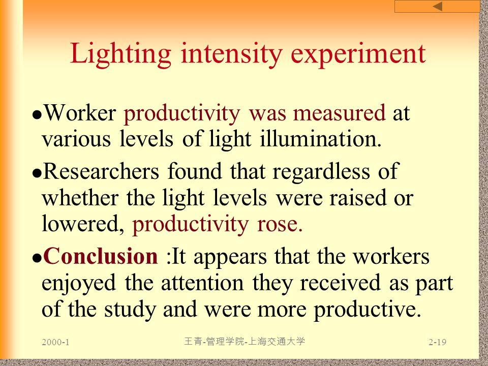 2000-1 王青 - 管理学院 - 上海交通大学 2-19 Lighting intensity experiment Worker productivity was measured at various levels of light illumination. Researchers fou