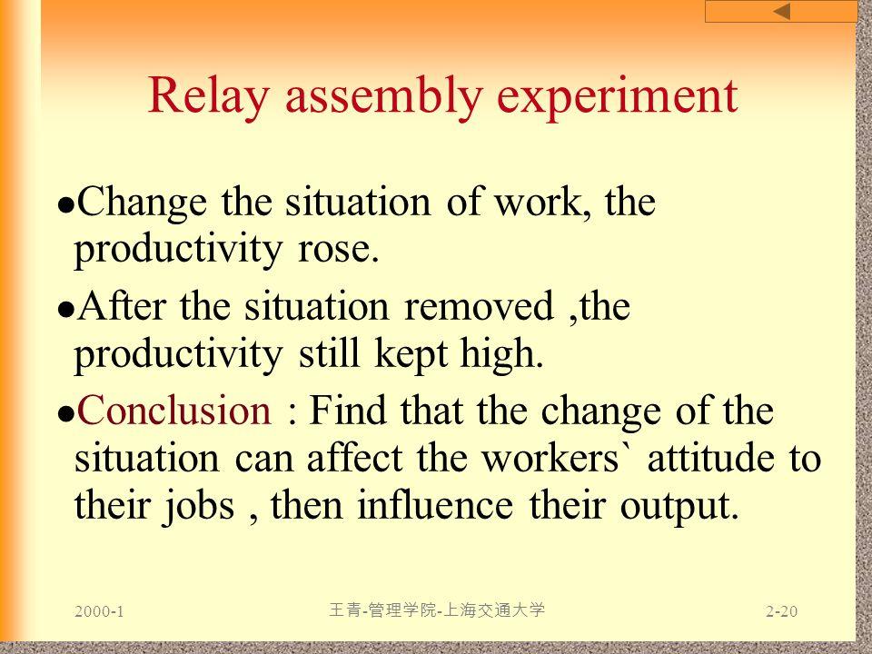 2000-1 王青 - 管理学院 - 上海交通大学 2-20 Relay assembly experiment Change the situation of work, the productivity rose. After the situation removed,the producti