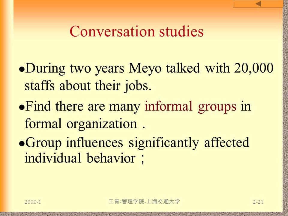 2000-1 王青 - 管理学院 - 上海交通大学 2-21 Conversation studies During two years Meyo talked with 20,000 staffs about their jobs. Find there are many informal gro