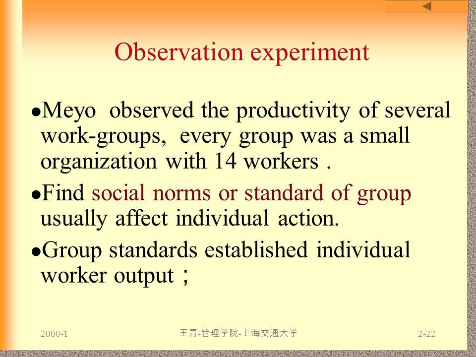 2000-1 王青 - 管理学院 - 上海交通大学 2-22 Observation experiment Meyo observed the productivity of several work-groups, every group was a small organization with