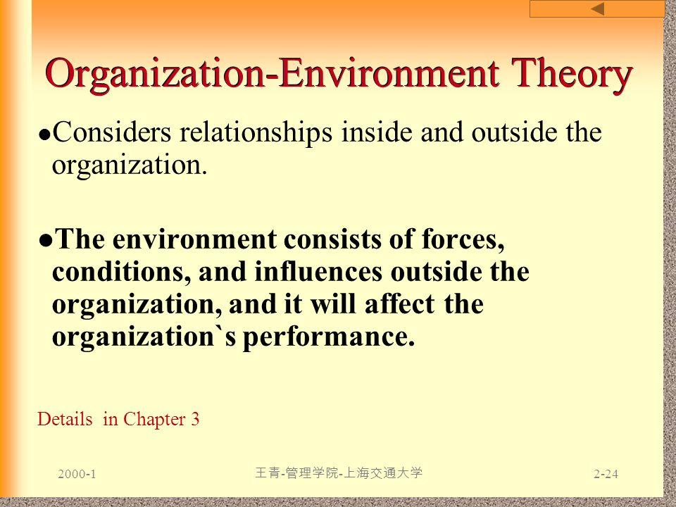 2000-1 王青 - 管理学院 - 上海交通大学 2-24 Organization-Environment Theory Considers relationships inside and outside the organization. The environment consists o