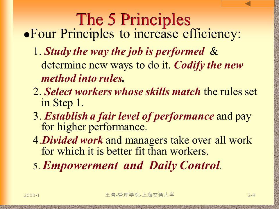 2000-1 王青 - 管理学院 - 上海交通大学 2-9 The 5 Principles Four Principles to increase efficiency: 1. Study the way the job is performed & determine new ways to d