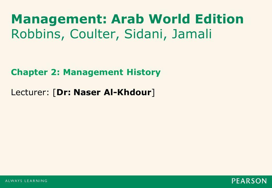 Management: Arab World Edition Robbins, Coulter, Sidani, Jamali Chapter 2: Management History Lecturer: [Dr: Naser Al-Khdour]