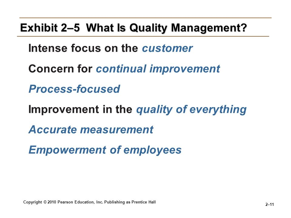 Copyright © 2010 Pearson Education, Inc. Publishing as Prentice Hall 2–11 Exhibit 2–5 What Is Quality Management? Intense focus on the customer Concer