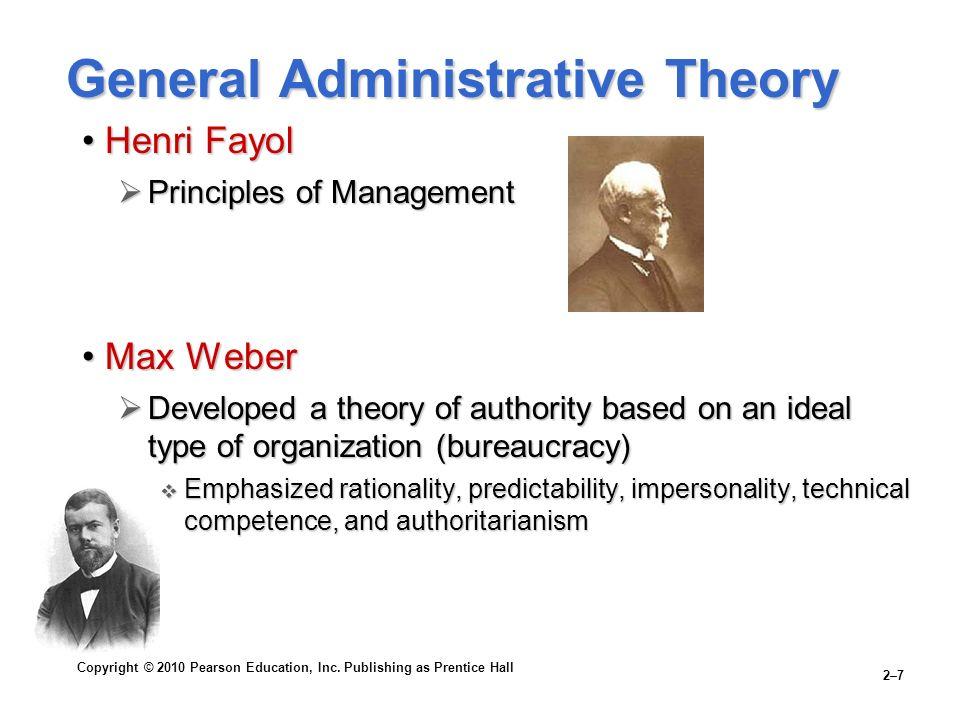 Copyright © 2010 Pearson Education, Inc. Publishing as Prentice Hall 2–7 General Administrative Theory Henri FayolHenri Fayol  Principles of Manageme
