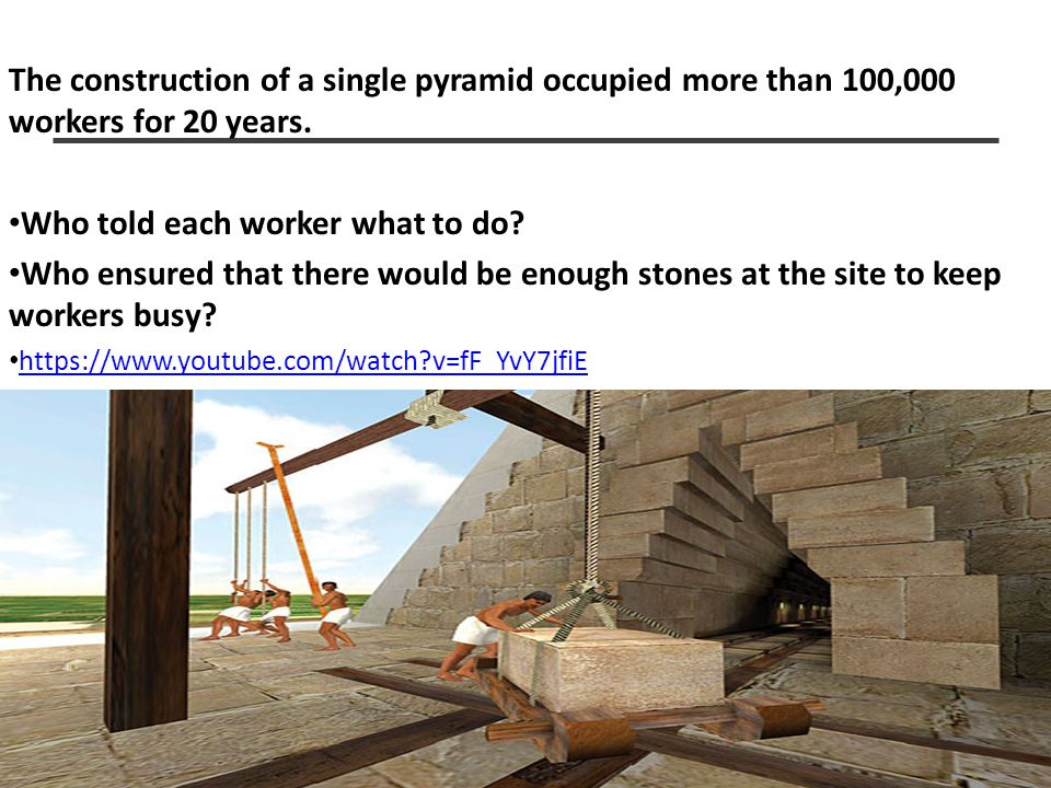 MH-2 The construction of a single pyramid occupied more than 100,000 workers for 20 years. Who told each worker what to do? Who ensured that there wou