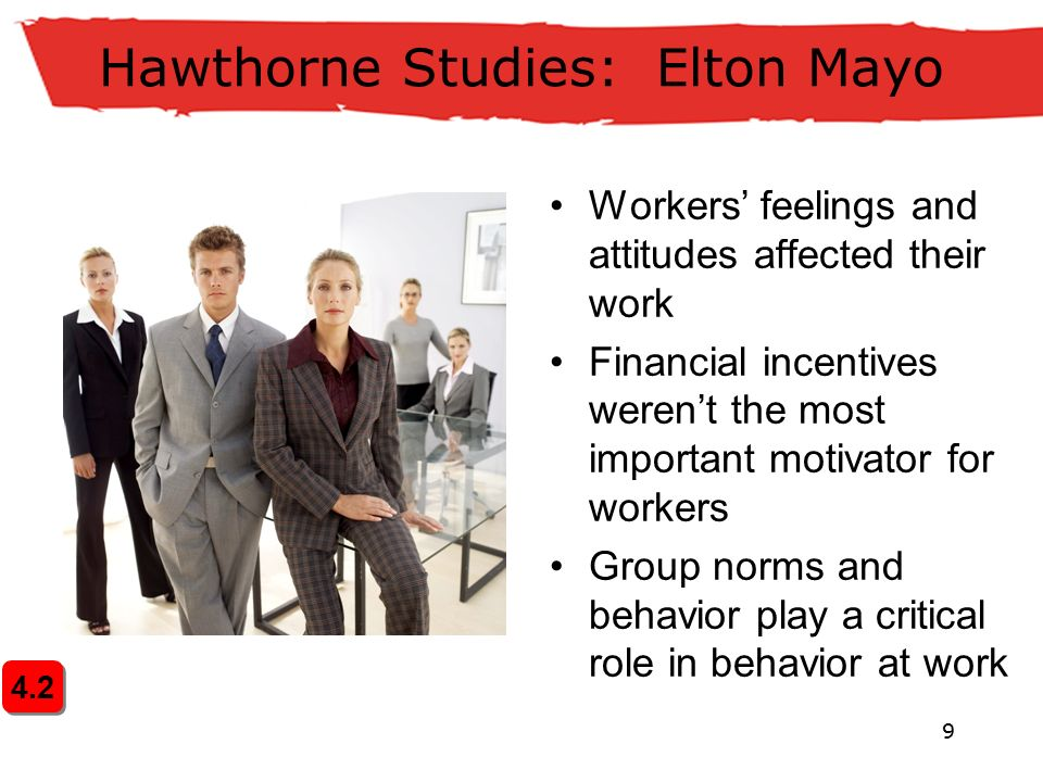 9 4.2 Hawthorne Studies: Elton Mayo Workers' feelings and attitudes affected their work Financial incentives weren't the most important motivator for workers Group norms and behavior play a critical role in behavior at work