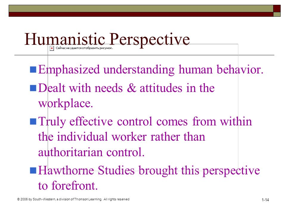 © 2006 by South-Western, a division of Thomson Learning. All rights reserved 1-14 Humanistic Perspective Emphasized understanding human behavior. Deal