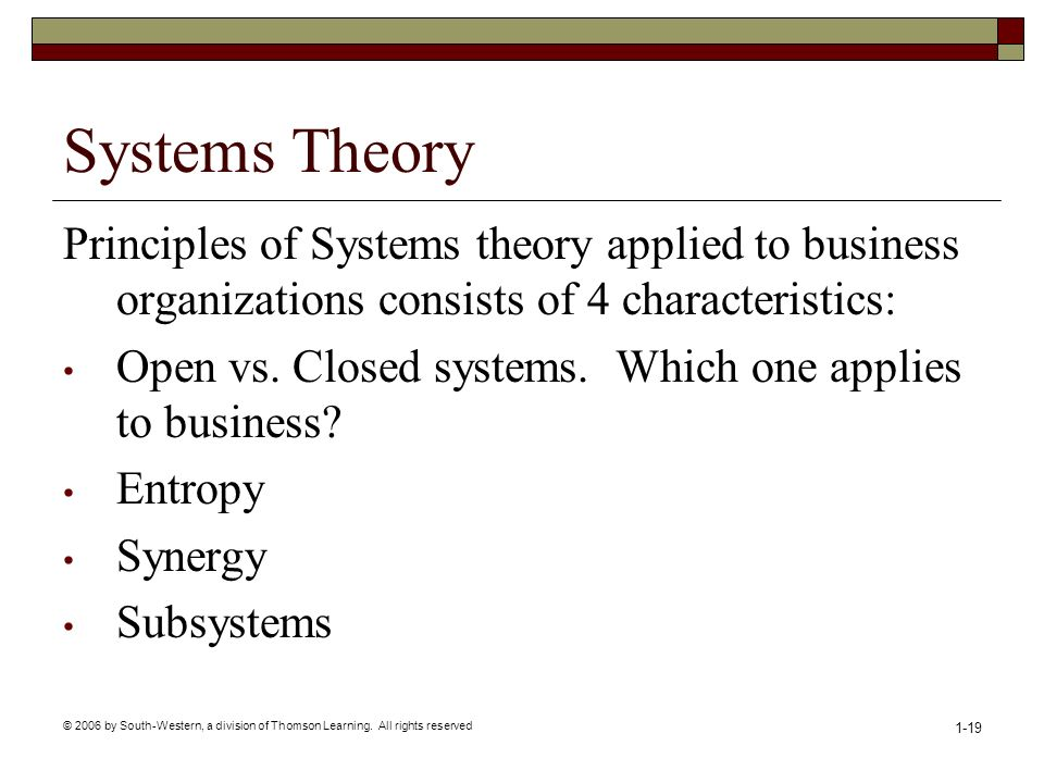 © 2006 by South-Western, a division of Thomson Learning. All rights reserved 1-19 Systems Theory Principles of Systems theory applied to business orga