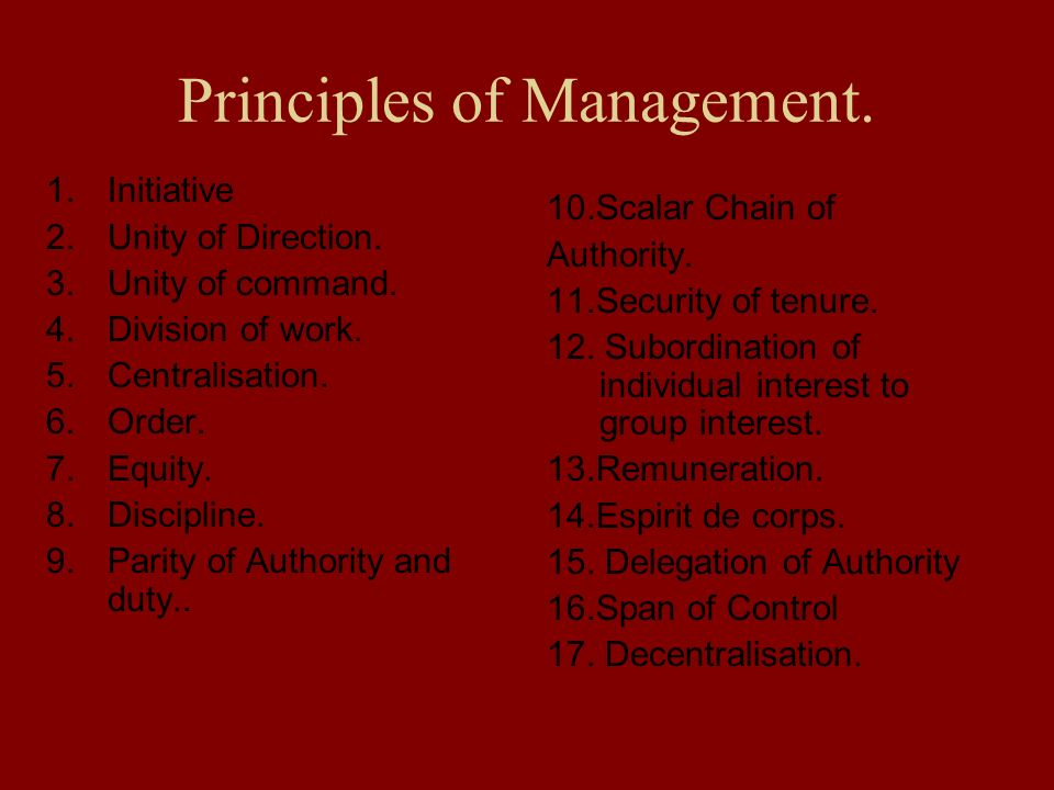 Principles of Management. 1.Initiative 2.Unity of Direction. 3.Unity of command. 4.Division of work. 5.Centralisation. 6.Order. 7.Equity. 8.Discipline
