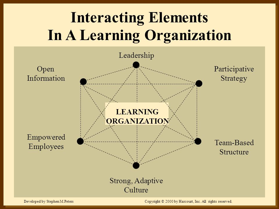 Developed by Stephen M.PetersCopyright © 2000 by Harcourt, Inc. All rights reserved. Leadership Participative Strategy Team-Based Structure Strong, Ad