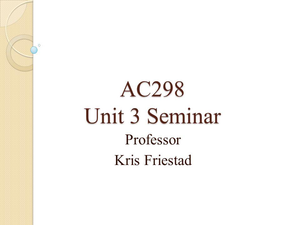 AC298 Unit 3 Seminar Professor Kris Friestad