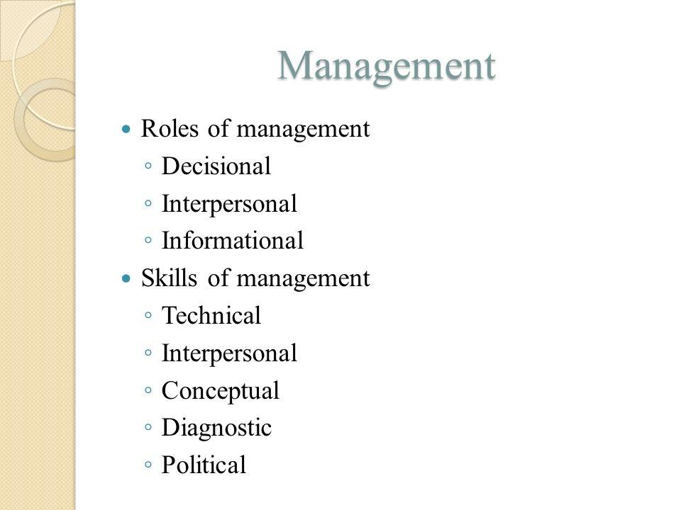 Management Roles of management ◦ Decisional ◦ Interpersonal ◦ Informational Skills of management ◦ Technical ◦ Interpersonal ◦ Conceptual ◦ Diagnostic