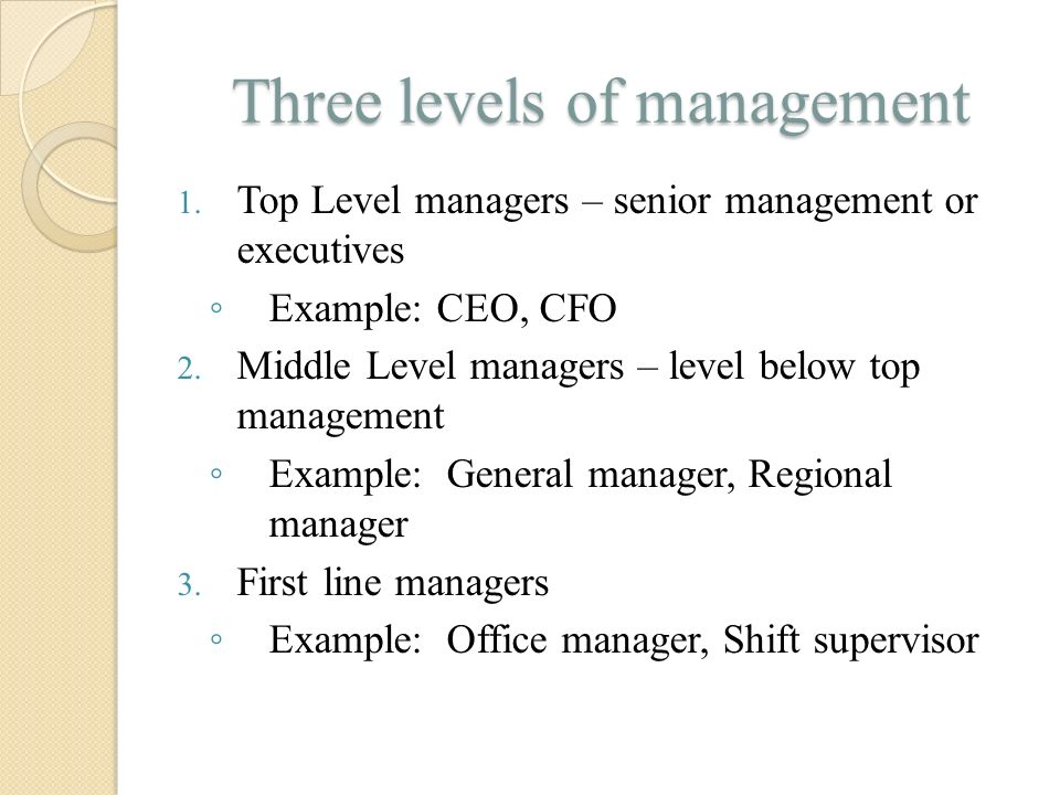 Three levels of management 1. Top Level managers – senior management or executives ◦ Example: CEO, CFO 2. Middle Level managers – level below top mana