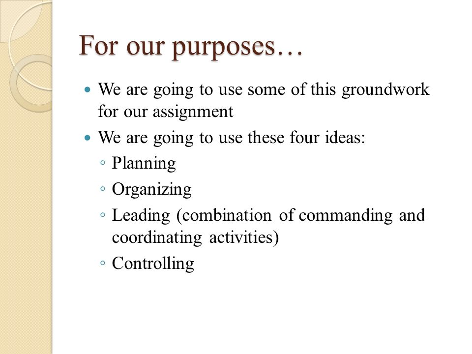 For our purposes… We are going to use some of this groundwork for our assignment We are going to use these four ideas: ◦ Planning ◦ Organizing ◦ Leadi