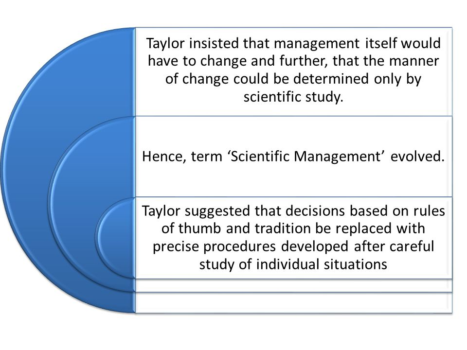 Taylor insisted that management itself would have to change and further, that the manner of change could be determined only by scientific study. Hence
