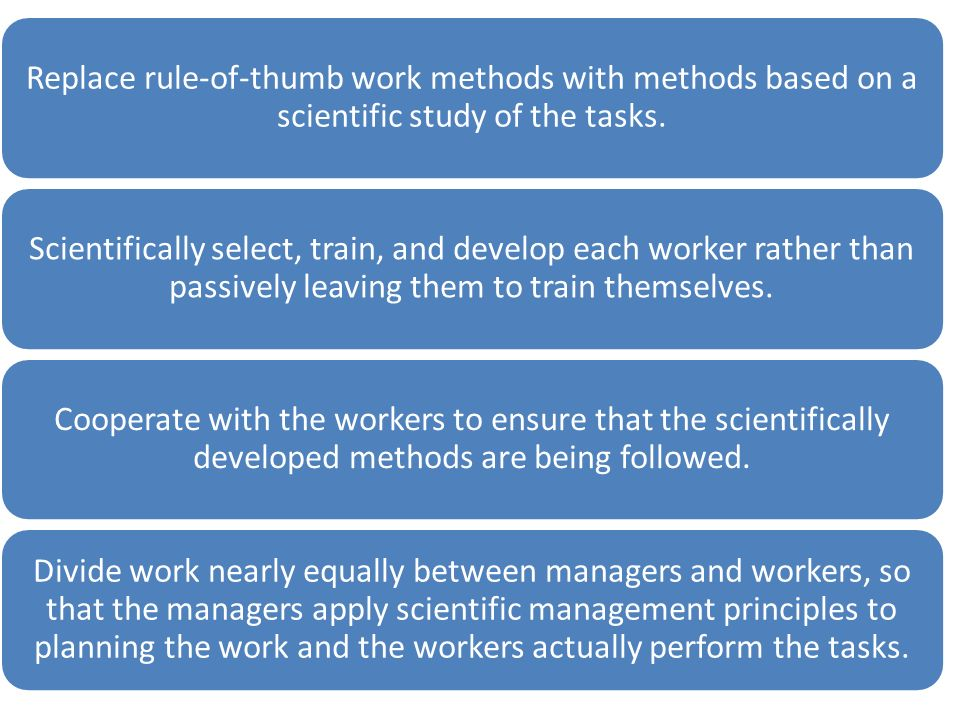 Replace rule-of-thumb work methods with methods based on a scientific study of the tasks. Scientifically select, train, and develop each worker rather