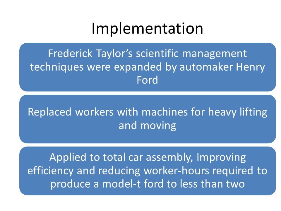 Implementation Frederick Taylor's scientific management techniques were expanded by automaker Henry Ford Replaced workers with machines for heavy lift
