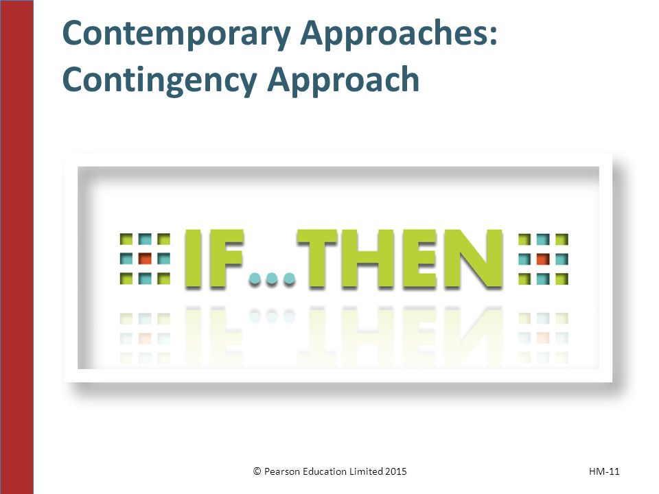Contemporary Approaches: Contingency Approach © Pearson Education Limited 2015HM-11