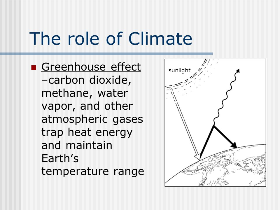 The role of climate weather the role of climate weather day greenhouse effect carbon dioxide methane water vapor and other atmospheric gases trap heat energy and maintain earths temperature range sunlight sciox Images