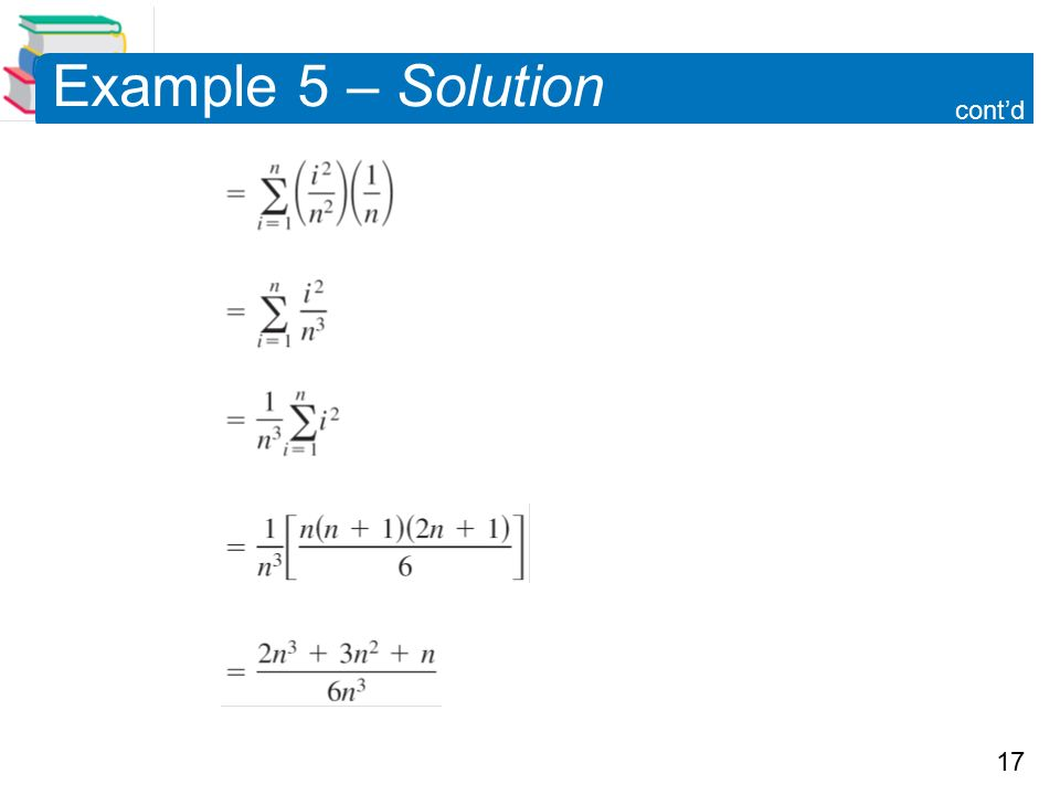 17 Example 5 – Solution cont'd