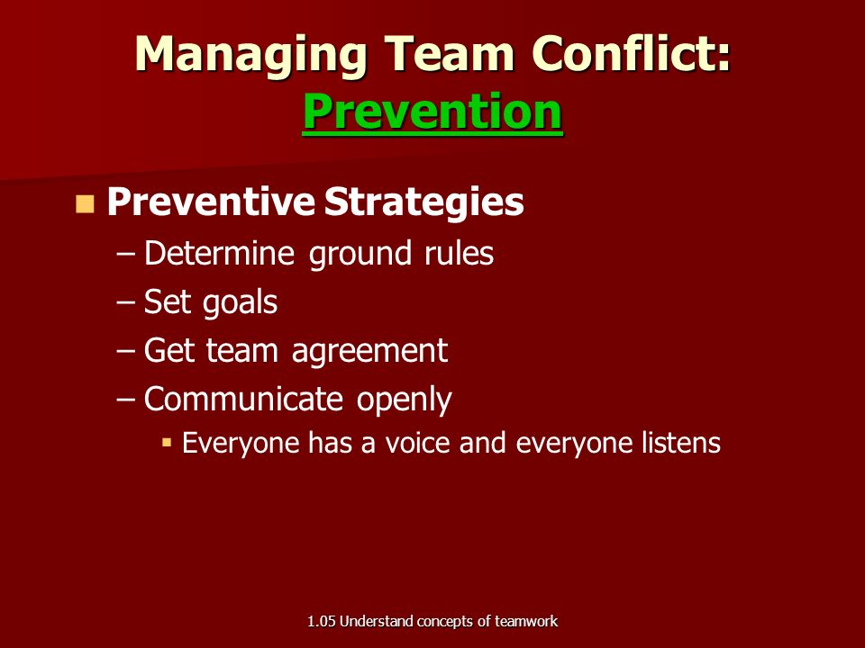 Managing Team Conflict Conflicts, differences, disagreements Conflicts, differences, disagreements –Can be constructive  Exciting  Refreshing  Good for job performance 1.05 Understand concepts of teamwork