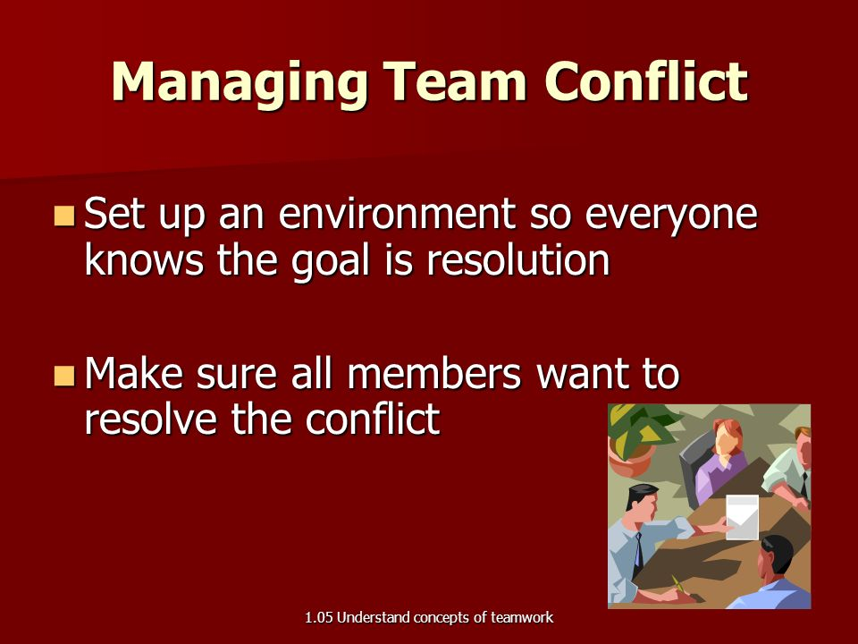 Managing Team Conflict Reaction Reactive strategy – –Avoiding   Withdrawing, sidestepping or postponing the issue – –Effective when conflict is a symptom of bigger issue, has low importance, or a time out will take care of the conflict – –Explain why you are doing nothing and when you expect to deal with the process 1.05 Understand concepts of teamwork