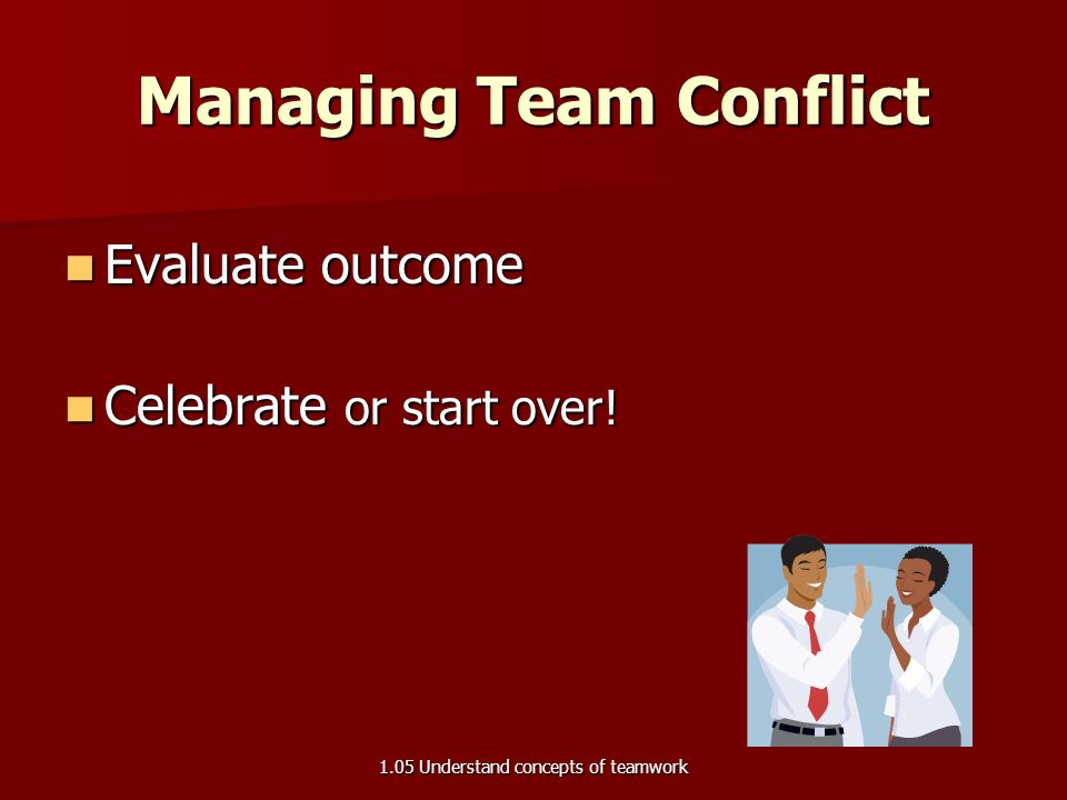 Managing Team Conflict Generate solution options Generate solution options Team members must agree on which solution is most appropriate Team members must agree on which solution is most appropriate Implement solution option Implement solution option 1.05 Understand concepts of teamwork