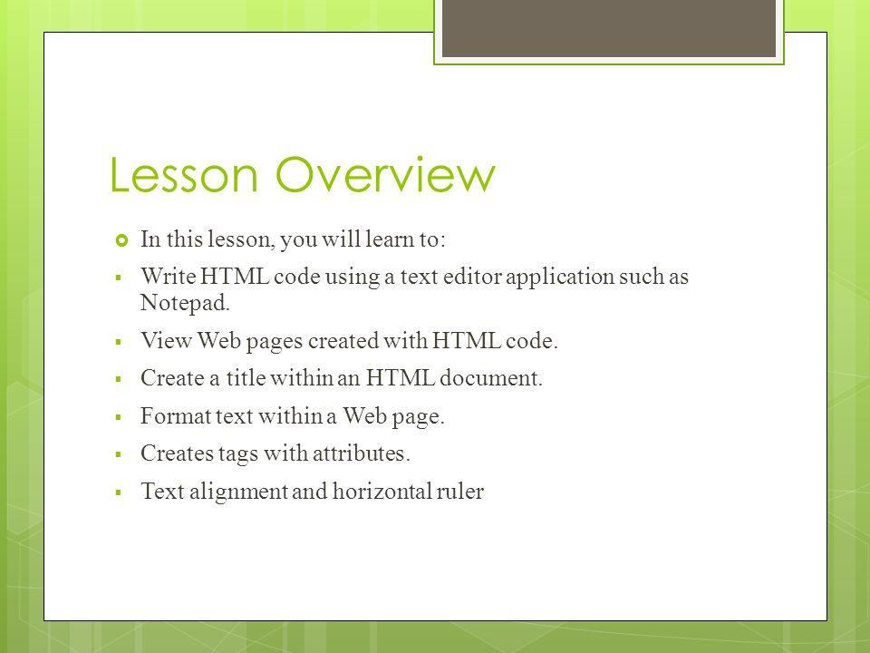 write html code How to write an html page each line of code must go on its own line, so you'll normally press ↵ enter after writing a line of code 3 review the basic html.