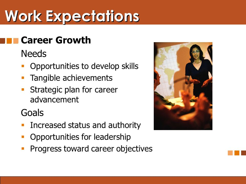 Blended Learning: Finding the Right Mix Work Expectations Career Growth Needs  Opportunities to develop skills  Tangible achievements  Strategic plan for career advancement Goals  Increased status and authority  Opportunities for leadership  Progress toward career objectives