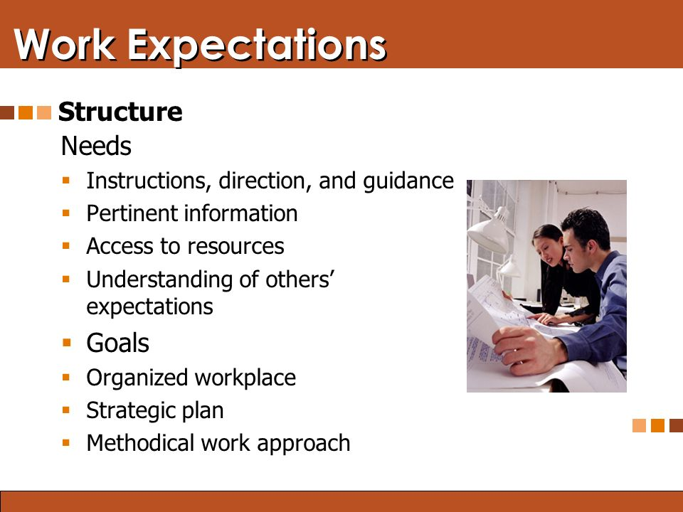Blended Learning: Finding the Right Mix Work Expectations Needs  Instructions, direction, and guidance  Pertinent information  Access to resources  Understanding of others' expectations  Goals  Organized workplace  Strategic plan  Methodical work approach Structure