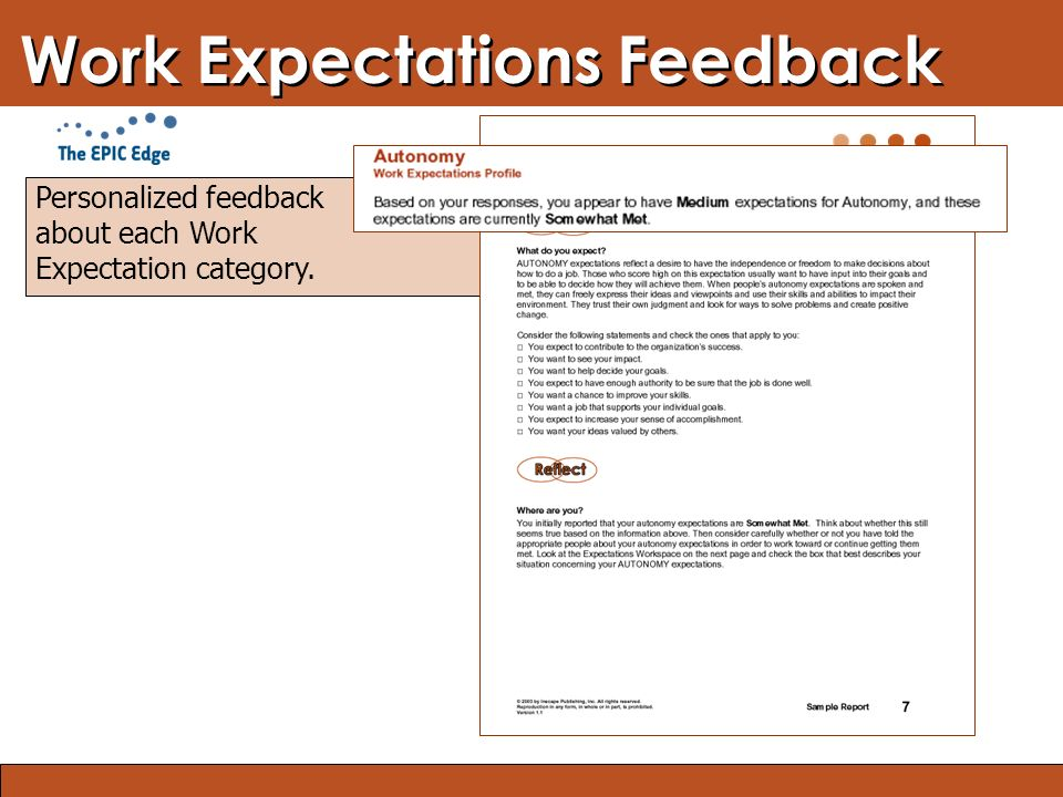 Blended Learning: Finding the Right Mix Work Expectations Feedback Personalized feedback about each Work Expectation category.