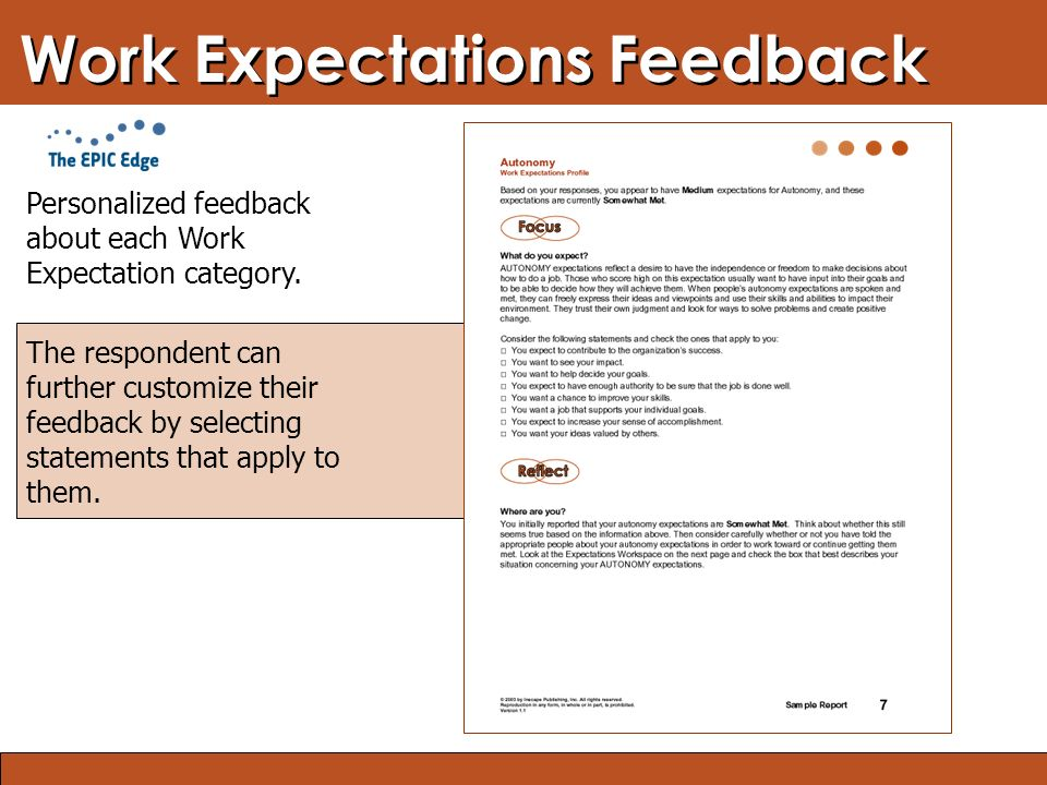 Blended Learning: Finding the Right Mix Work Expectations Feedback Personalized feedback about each Work Expectation category. The respondent can furt